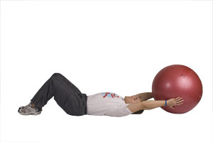Extended Arm Crunches with Exercise Ball