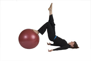 Hamstring Curls (Single Leg) with Exercise Ball