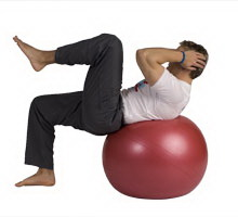 Knee to Elbow Crunch with Exercise Ball