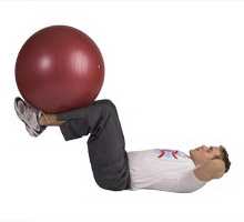 Leg Extension Crunches with Exercise Ball