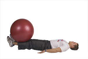 Table Top Leg Extensions with Exercise Ball